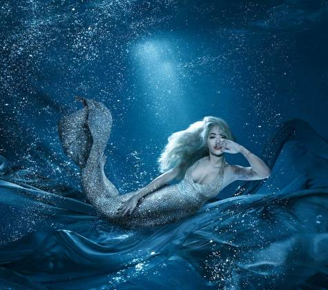 Rita Ora, the famous British singer, poses for an underwater photoshoot editorial, dressed as a Mermaid. Commissioned by the client Sexy Fish